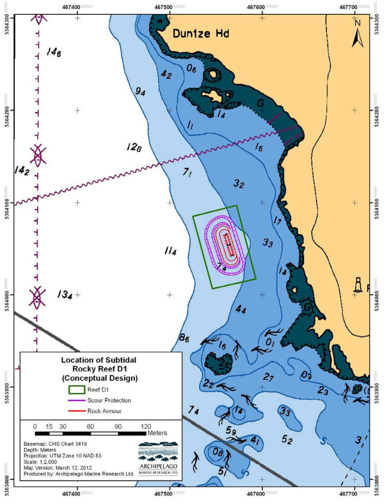 New man made reef chart for Esquimalt harbour